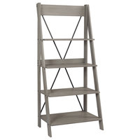 "68"" Solid Wood Ladder Bookshelf, Gray"
