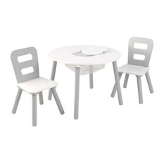KidKraft Round Storage Table and 2 Chair Set, Gray and White