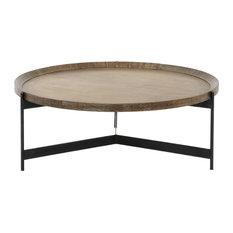 "40"" L Coffee Table Iron Brass Oak Powder Black Bright Clad Light Bur"