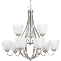 Progress Arden 9-Light 2-Tier Chandelier, Brushed Nickel, Etched - P4747-09