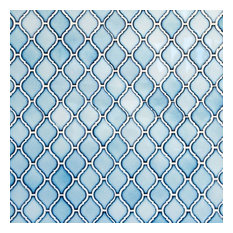 Arabesque Narrow Lantern Tiles Glossy Sky Blue 11 X9 75