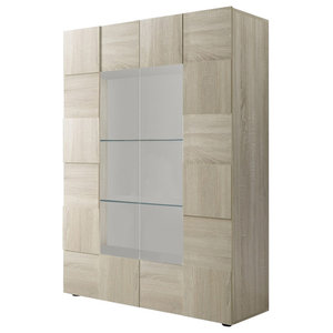 Diana 2-Door Display Cabinet, LED Lights, Sonoma Oak