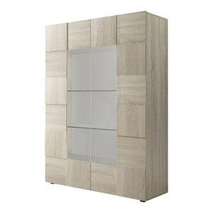 Diana 2-Door Display Cabinet, LED Lights, Sonoma Oak
