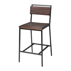 "Residence - Barton Wood and Metal Stool, Black Cherry and Matte Black, 26"" - Bar Stools and Counter Stools"