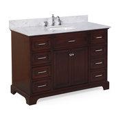 "Aria Bathroom Vanity, Base: Chocolate, 48"", Top: Carrara Marble"