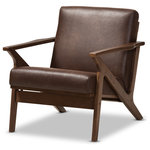 Baxton Studio - Bianca Mid-Century Modern Dark Brown Distressed Faux Leather Lounge Chair, Dark - Welcome plush comfort into your home with the vintage style Bianca 1-seater lounge chair. Constructed of durable rubberwood for exceptional durability and stable comfort, the Bianca is upholstered in distressed brown faux leather effect fabric to give it a vintage feel. Perfect for a modern or minimal interior, the Bianca features smooth angular solid wood frame in dark walnut finishing for a nod to mid-century modern design that exudes warmth. This retro modern lounge chair is built with clean paneled lines on the seat back, bringing relaxing vibes into your living room and complementing your home with lavish style. For a coordinated look, pair the lounge chair with other pieces in the Bianca range, a stunning lounge set perfect for modern lounges and receptions. Made in Malaysia, the Bianca requires assembly.