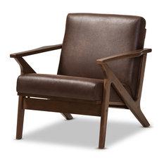 Bianca Mid-Century Modern Dark Brown Distressed Faux Leather Lounge Chair, Dark