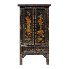 Consigned Chinese Vintage Golden Color Floral Graphic Dresser Cabinet Hcs4122
