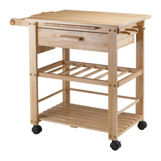 Winsome - Winsome Wood Traditional Natural Solid Wood Cart - Kitchen Islands and Kitchen Carts