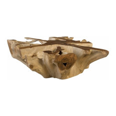 38-inchW Coffee Table Solid Teak Wood Free Form Root Sculpture Square
