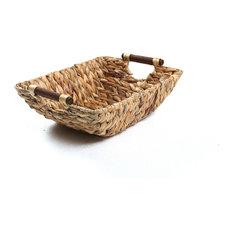 "15"" Hyacinth and Wood Handled Basket"
