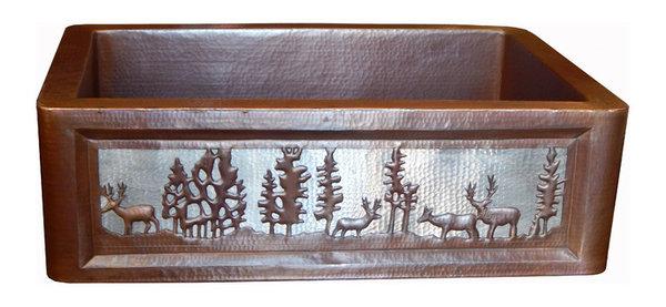 Apron Front Farmhouse Kitchen Mexican Copper Sink Pine Deer