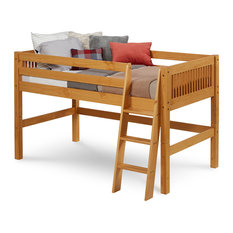 Camaflexi Twin, Low Loft Bed, Mission Headboard, Natural Finish