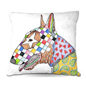 "Bull Terrier Dog White Throw Pillow, 20""x20"""