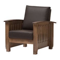 Charlotte Modern Classic Mission Style Lounge Chair, Dark Brown, Walnut Brow