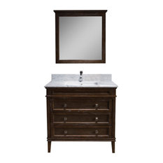 "Bordeaux 36"" Vanity With Mirror and White Carrara Marble Top, Black Red Oak"