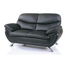 Jonus Leather Match Loveseat Black