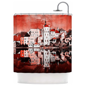 Suzanne Carter Red Sky At Night Shower Curtain