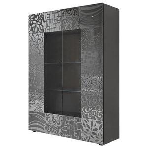 Miro 2-Door Decorative Display Cabinet, Grey Gloss