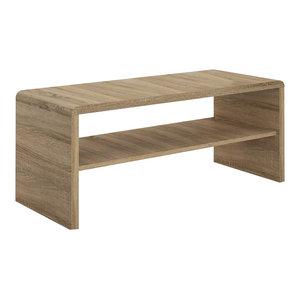 Contemporary TV Stand, Laminated Board With Open Shelf, Sonama Oak
