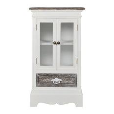 VidaXL Cabinet, 2 Doors and 1 Drawer, White Wood