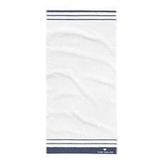 Tom Tailor High/Low Hand Towels, White and Blue, Set of 2
