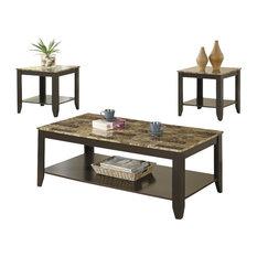 Monarch Specialties   Table Set, 3 Piece Set, Cappuccino, Marble Look
