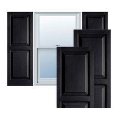 Builders Choice Vinyl Raised Panel Window Shutters, w/Installation (Pair), Black