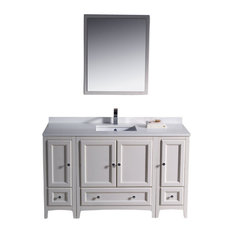 "Oxford 54"" White Vanity, 2 Side Cabinets Livenza Chrome Faucet"