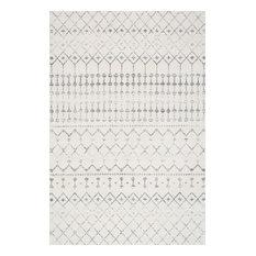"""Moroccan Blythe Contemporary Area Rug, Gray, 6'7""""x9'"""