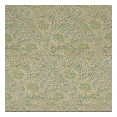 Green Blue and Beige Paisley Indoor Outdoor Marine Upholstery Fabric By The Yard