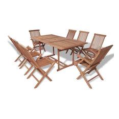 Outdoor Dining Teak Wood, 9 Piece Set