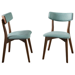 GDF Studio Molly Mid Century Modern Dining Chairs, Mint/Natural Walnut, Set of 2
