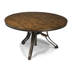 Magnussen Home Furnishings   Cranfill Aged Pine Round Adjustable Cocktail  Table   Coffee Tables