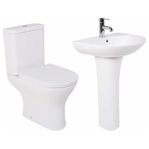 Modern WC Toilet and Basin Pedestal Sink Set with One Tap Hole, Simple Design