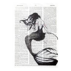 Art N Wordz Mermaid Back Original Dictionary Sheet Pop Art Print