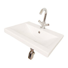 Rectangular White Ceramic Wall Mounted or Self Rimming Bathroom Sink, One Hole