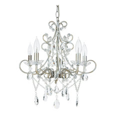 amalfi decor theresa 5light wrought iron crystal chandelier silver chandeliers