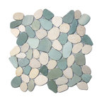 Sliced Sea Green and White Pebble Tile