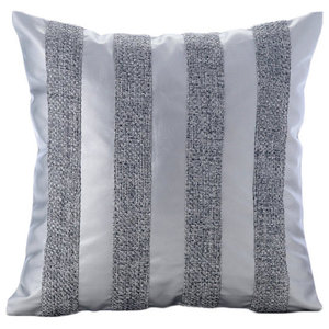 Silver Leather N Jute Stripes, Silver Faux Leather 35x35 Throw Cushion Covers