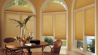Hunter Douglas blinds with custom drapery