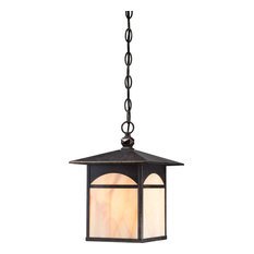 Canyon 1 Light Outdoor Hanging Fixture With Honey Stained Glass