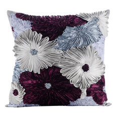 Blue Decorative Cushion Cover, Silk, Glory in The Flowers, 35x35 cm