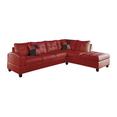 Kiva Reversible Sectional Sofa With 2 Pillows, Red