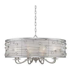 Joia 8-Light Pendant With Sheer Filigree Mist Shade, Peruvian Silver
