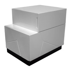 Modern White and Black Left Facing Nightstand by Furniture Import & Export Inc.