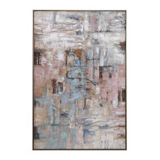 Oversize 61in Modern Abstract Pastel Wall Art Pink Lavender Yellow Gold Painting