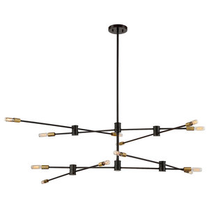 """Chandelier 12-Light With Bronze With Brass Accents Candelabra 54"""" 720W"""