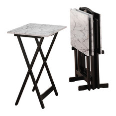 Clarke Faux Marble Tray Table Set