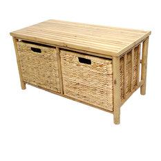 Kona Bamboo Storage Bench With 2-Hyacinth Basket, W27092-NAT